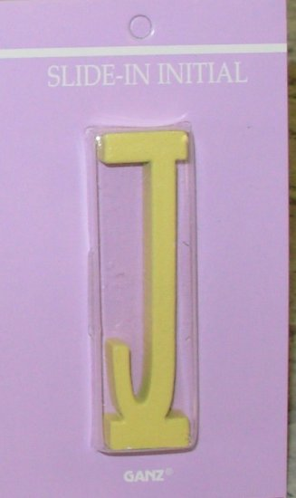 CROSS PLAQUE SLIP IN LETTER J IN YELLOW NEW GANZ GODS CHILD