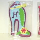 INITIAL H LUGGAGE TAG STAND OUT HIGH HEEL NEW GANZ IN TURQUOISE RED YELLOW AND GREEN