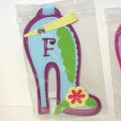 INITIAL  F LUGGAGE TAG STAND OUT HIGH HEEL NEW GANZ IN TURQUOISE RED YELLOW AND GREEN