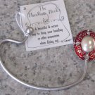 HANDBAG HOOK HOLDER IN RED AND SILVER COLOR WITH FAUX PEARL A SECURE WAY TO HANG YOUR PURSE GANZ