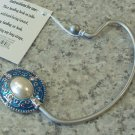 HANDBAG HOOK HOLDER IN BLUE AND SILVER COLOR WITH FAUX PEARL A SECURE WAY TO HANG YOUR PURSE GANZ