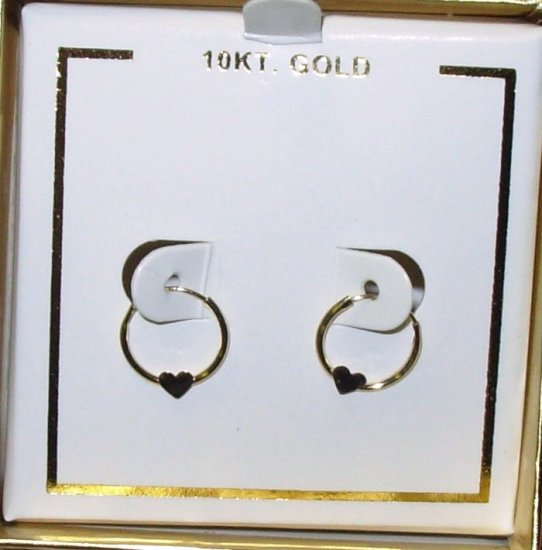 10K YELLOW GOLD HEART EARRINGS FOR PIERCED EARS EARRINGS NEW