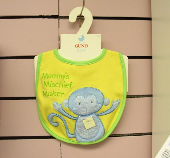 GUND BABY BIB WITH SQUEAKER LITTLE MONKEY SAYS MOMMY'S MISCHIEF MAKER NEW WITH ORIGINAL TAGS