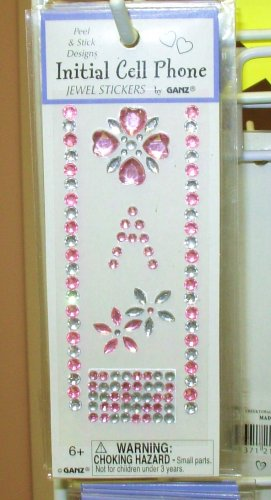 INITIAL JEWEL STICKERS BY GANZ PEEL AND STICK NEW LETTER A PINK AND CLEAR CRYSTALS