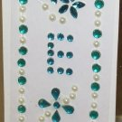 INITIAL JEWEL STICKERS BY GANZ PEEL AND STICK NEW LETTER E TURQUOISE AND WHITE PEARL CRYSTALS