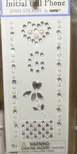 INITIAL JEWEL STICKERS BY GANZ PEEL AND STICK NEW LETTER G WHITE PEARL AND CLEAR CRYSTALS