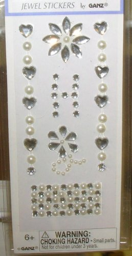 INITIAL JEWEL STICKERS BY GANZ PEEL AND STICK NEW LETTER H WHITE PEARL AND CLEAR CRYSTALS