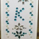 INITIAL JEWEL STICKERS BY GANZ PEEL AND STICK NEW LETTER K WHITE PEARL TURQUOISE AND CLEAR CRYSTALS