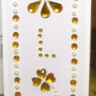 INITIAL JEWEL STICKERS PEEL AND STICK LETTER L GOLD AND WHITE PEARL CRYSTALS