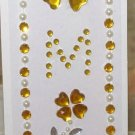 INITIAL JEWEL STICKERS BY GANZ PEEL AND STICK NEW LETTER M WHITE PEARL GOLD AND CLEAR CRYSTALS