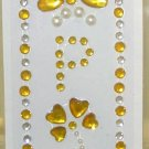 INITIAL JEWEL STICKERS BY GANZ PEEL AND STICK NEW LETTER P WHITE PEARL AND GOLD CRYSTALS
