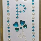 INITIAL JEWEL STICKERS BY GANZ PEEL AND STICK NEW LETTER P WHITE PEARL AND TURQUOISE CRYSTALS
