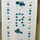 INITIAL JEWEL STICKERS BY GANZ PEEL AND STICK NEW LETTER R TURQUOISE AND WHITE PEARL CRYSTALS