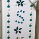 INITIAL JEWEL STICKERS BY GANZ PEEL AND STICK NEW LETTER S WHITE PEARL AND TURQUOISE CRYSTALS