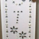 INITIAL JEWEL STICKERS BY GANZ PEEL AND STICK NEW LETTER T WHITE PEARL AND CLEAR  CRYSTALS