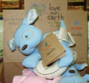 GUND TEETHERS LOVE OUR EARTH ORGANIC COTTON ECO FRIENDLY BABY GUND BLUE MACHINE WASHABLE