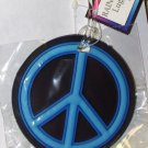 RAINBOW PEACE SYMBOL LUGGAGE TAG NEON BLUE AND BLACK NEW TRAVEL