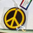RAINBOW PEACE SYMBOL LUGGAGE TAG NEON YELLOW AND BLACK NEW TRAVEL