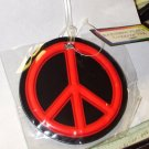RAINBOW PEACE SYMBOL LUGGAGE TAG NEON RED AND BLACK NEW TRAVEL