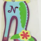INITIAL N LUGGAGE TAG STAND OUT HIGH HEEL NEW GANZ IN TURQUOISE RED YELLOW AND GREEN