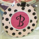 LUGGAGE TAG INITIAL B PINK WITH BLACK POLKA DOTS PINK CENTER NEW GANZ