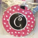 LUGGAGE TAG INITIAL C PINK WITH WHITE POLKA DOTS PINK CENTER NEW GANZ