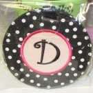 LUGGAGE TAG INITIAL D BLACK WITH WHITE POLKA DOTS PINK CENTER NEW GANZ
