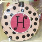 LUGGAGE TAG INITIAL H PINK WITH BLACK POLKA DOTS PINK CENTER NEW GANZ