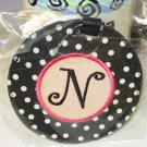 LUGGAGE TAG INITIAL N BLACK WITH WHITE POLKA DOTS PINK CENTER NEW GANZ