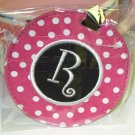 LUGGAGE TAG INITIAL R PINK WITH WHITE POLKA DOTS PINK CENTER NEW GANZ