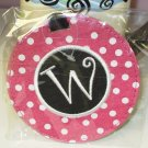 LUGGAGE TAG INITIAL W PINK WITH WHITE POLKA DOTS PINK CENTER NEW GANZ