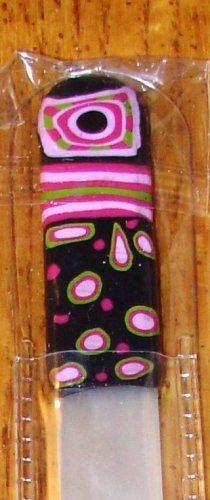 CRYSTAL NAIL FILE BLACK PINK GREEN AND RED WITH A CASE NEW GANZ