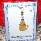 CHARM KITTY CAT ORANGE TABBY CELL PHONE PURSE CHARM NEW GANZ