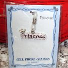 CELL PHONE PURSE CHARM SAYS PRINCESS PINK SILVER NEW GANZ