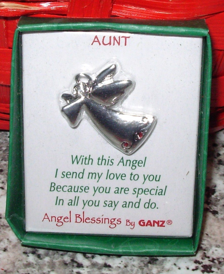 AUNT ANGEL BLESSINGS BY GANZ ANGEL PENDANT WITH CRYSTAL NEW GIFT JEWELRY ITEM
