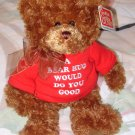 GUND TEDDYBEAR IN RED TSHIRT SAYS A BEAR HUG WOULD DO YOU GOOD PLUSH STUFFED ANIMAL BEAR NEW GUND