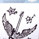 FLYING GUITAR NOTES AND STARS LAPTOP TATTOO SKIN UNIVERSAL PEEL AND STICK REUSABLE PERSONALIZE