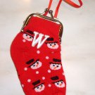 INITIAL COIN PURSE SNOWMAN CHRISTMAS STOCKING ORNAMENT NEW GANZ LETTER W HOLIDAY GIFT DECOR