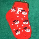 COIN PURSE INITIAL F CHRISTMAS STOCKING SNOWMAN ORNAMENT NEW GANZ HOLIDAY GIFT DECOR