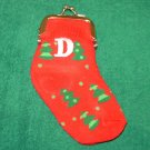 CHRISTMAS STOCKING COIN PURSE LETTER D CHRISTMAS TREES ORNAMENT NEW GANZ HOLIDAY GIFT DECOR