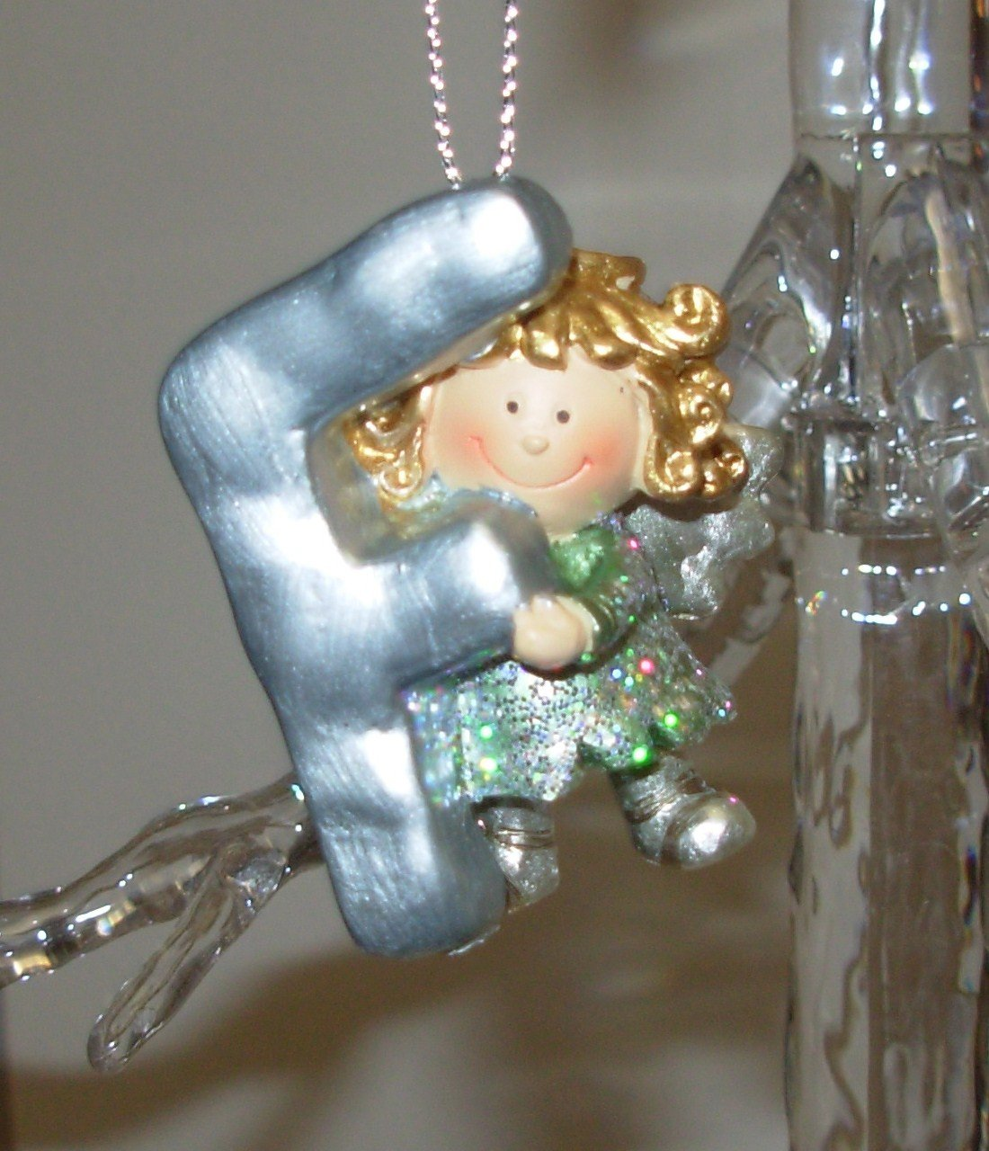ANGEL ORNAMENT INITIAL F CHRISTMAS HOME DECOR HOLIDAY BIRTHDAY NEW GANZ