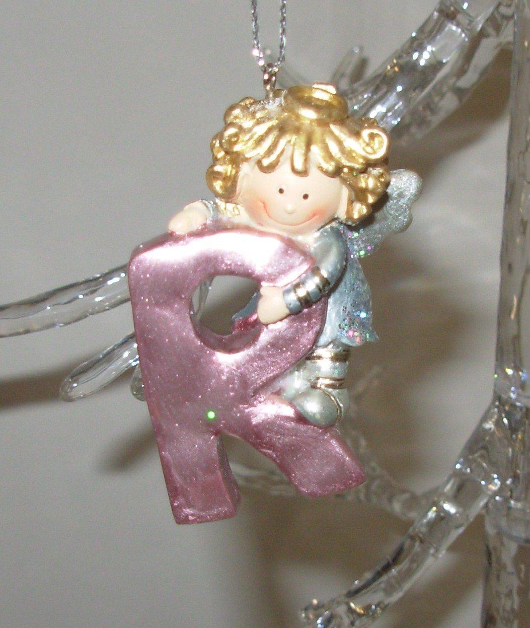 ANGEL ORNAMENT INITIAL R CHRISTMAS HOME DECOR HOLIDAY BIRTHDAY NEW GANZ