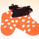 HALLOWEEN BABY SOCKS ORANGE WITH WHITE POLKA DOTS AND BLACK BOWS FRINGE SIZE 0 TO 12 MONTHS NEW GANZ