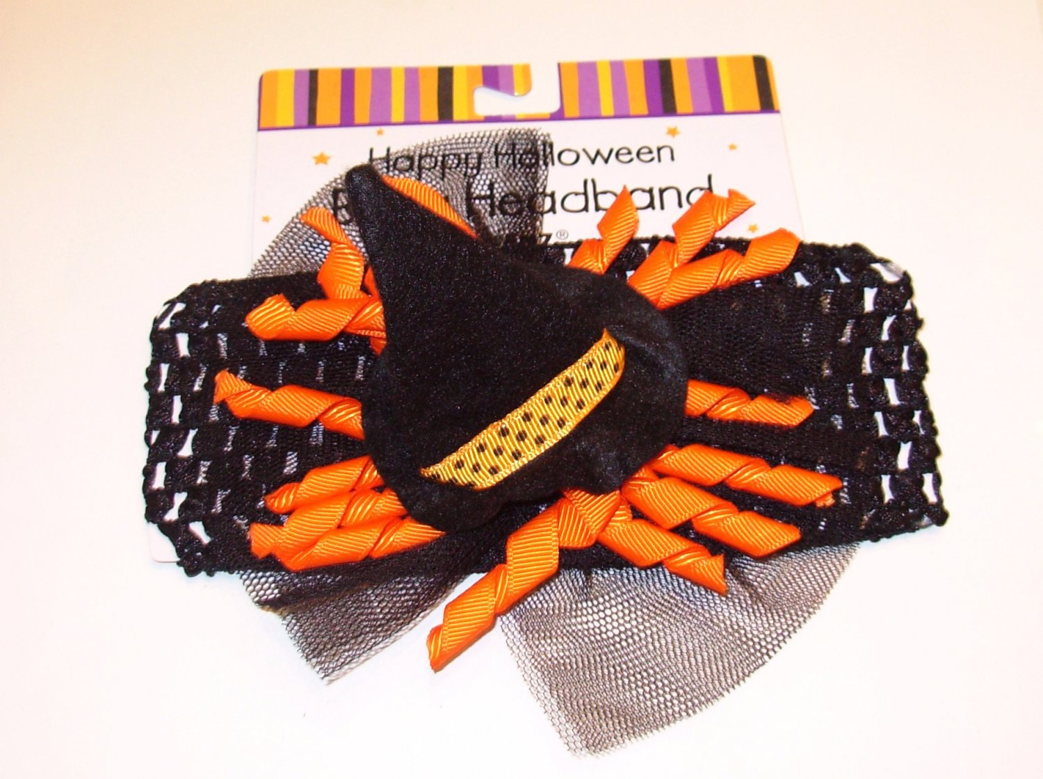 HALLOWEEN BABY HEADBAND BLACK ORANGE RIBBONS WITCHS HAT BIRTH AND UP NEW GANZ