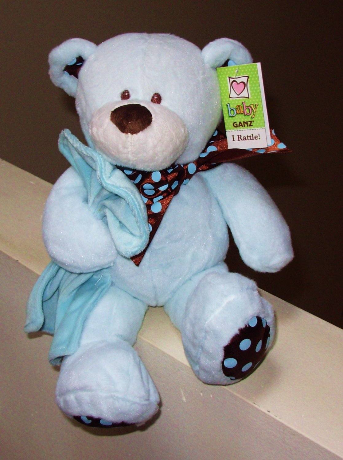 CHOCOLATE DROPS BEAR BABY RATTLE BLUE AND CHOCOLATE MACHINE WASHABLE NEW