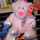 NEW MINI TUBBY TUMMIES BEAR WITH HUGS AND KISSES RIBBON LIGHT PINK TEDDYBEAR PLUSH GANZ