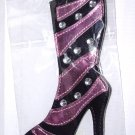 BOOT LUGGAGE TAGS BLACK AND PINK STRIPED WITH CLEAR CRYSTALS HIGH FASHION STAND OUT NEW