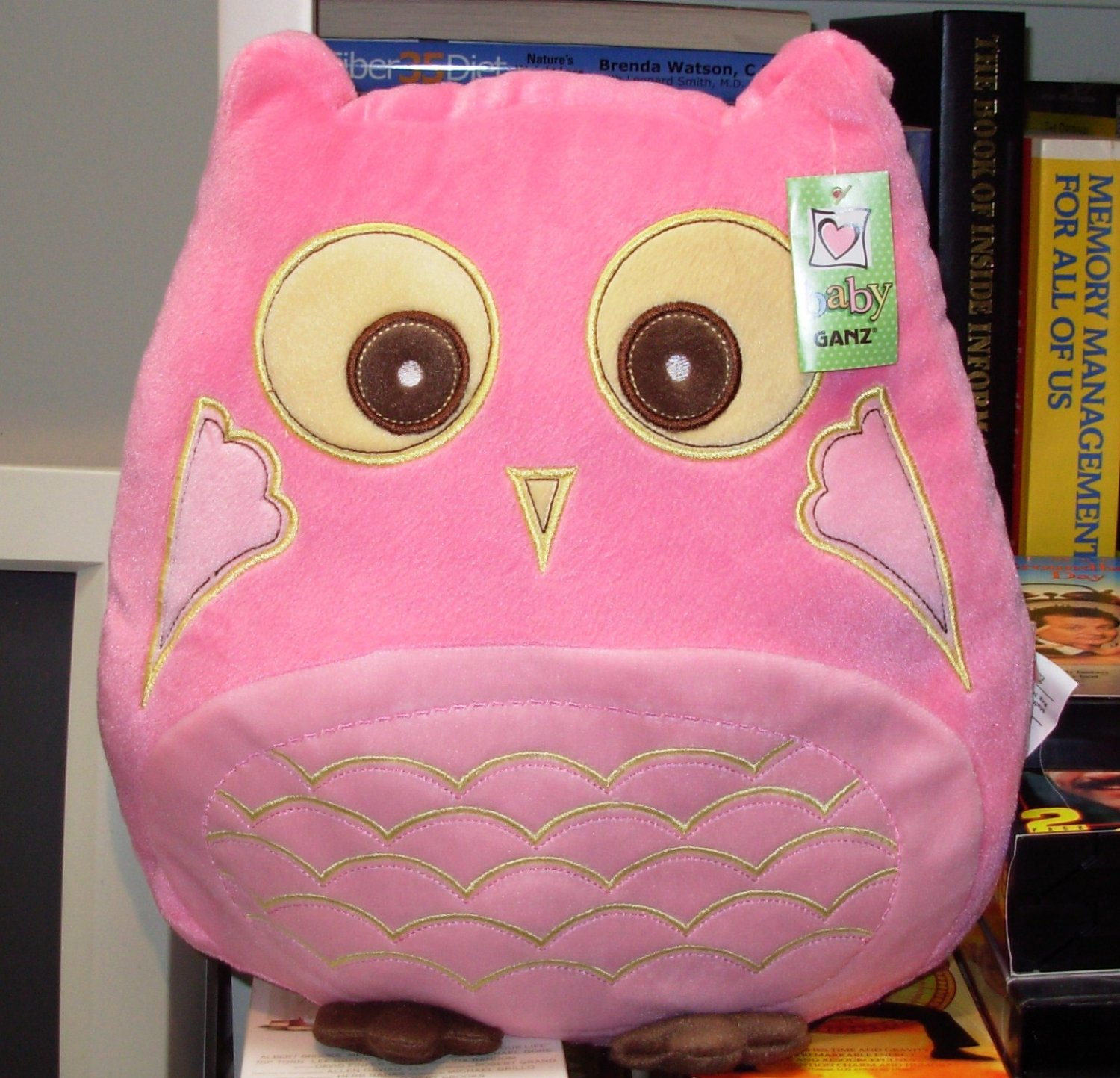 OWL PILLOW PINK POLY KNIT BIRTH AND UP SURFACE WASHABLE NEW GANZ 12 INCH