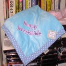 BABY BLANKET BLUE SAYS SIMPLY IRRESISTABLE SOFT PLUSH NEW BABY GIFT ITEM GANZ NEW