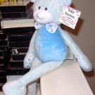 BABY BUDDIES BLUE AND WHITE BEAR PLUSH BABY RATTLE SQUEAKS CRINKLES NEW BABY GANZ